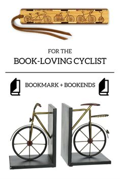 Bicycle bookmark and bookends for the book-loving cyclist in your life! Fun cycling gift for cyclists!