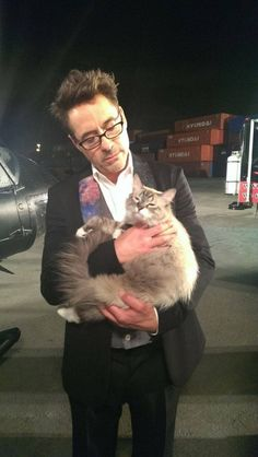 #CelebCats#FamousCats #Robert Downey Jnr with his furry feline