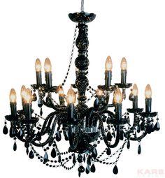 Pendant Lamp Gioiello Crystal Black 14-arms