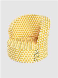 Pouf bébé thème Forêt magique - jaune/blanc
