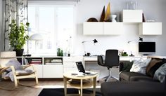 Who says you can't mix business with pleasure? It might be work, but it doesn't have to feel like it. All it takes is a comfy chair, home office furniture that keeps things organized, and the right lighting for the job. And by making it easier to tackle those to-do's, you'll have more time to spend on your wanna-do's. Shown here: BESTÅ/combination.