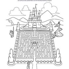 royal printable maze with castle knight dragon