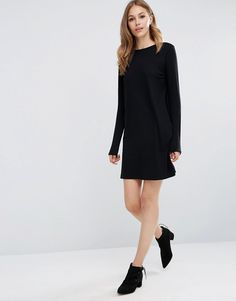ASOS Shift Dress in Ponte with Long Sleeves Stretch ponte Round neckline Long sleeves Button keyhole back Relaxed fit Machine wash 72% Viscose, 24% Polyester, 4% Elastane