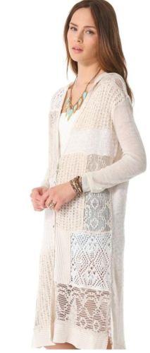 Free People Magic Dragon Patchwork Boho Long Cardigan Sweater Coat Duster $168 M   eBay