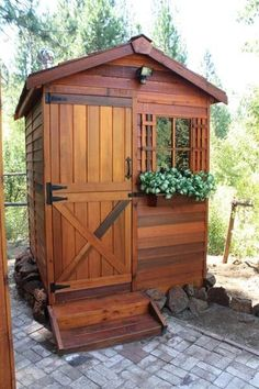 The Gardener 6x12 Cedar Shed Kit is made with Premium Western Red Cedar exterior, a wood species that is known for its beauty, durability and strength. Description from livingoutfitters.com. I searched for this on bing.com/images