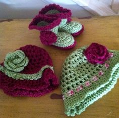 Eliza's coordinating hats and booties. The booties are a pattern by The Lovely Crow called Baby Sugar and Spice Booties. I used a different flower pattern that the one indicated. Easy to do this pattern.