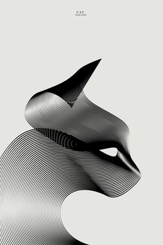 """partof animal illustrations series """"Animals in moiré 3""""using the effect of moiré patterns with just two lines by Andrea Minini"""