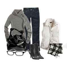 A fashion look from November 2010 featuring J.Crew vests, J.Crew jeans and Nine West shoes. Browse and shop related looks.