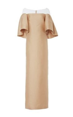 Champagne Silk Scuba Column Gown With Sculpted Sleeves by Monique Lhuillier for Preorder on Moda Operandi