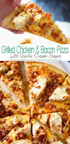 Grilled Chicken & Bacon Pizza with Garlic Cream Sauce is the best homemade pizza recipe EVER! Better than any frozen, take & bake or delivery. WOW! AMAZING! Don't miss my tip for quick & easy prep time too! on www.kleinworthco.com: http://www.www.www.kleinworthco.com2016/02/grilled-chicken-bacon-pizza-with-garlic-cream-sauce.html
