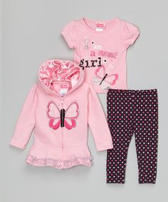 Pink Butterfly Zip-Up Hoodie Set - Toddler