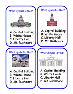 Here's a set of 80+ question cards on American symbols. Available from ProTeacher, you must login to download. (Membership is free.)