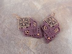 Macrame Earrings Chandelier Earrings Filigree by neferknots