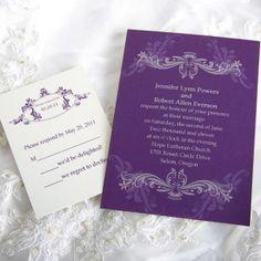 custom vintage purple damask wedding invitation kits EWI047