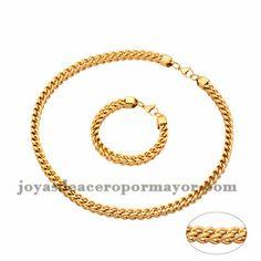 b340d4a998a3 juego collar y brazalete de estilo simple dorado en acero inoxidable para…