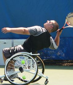 Dylan Levine, wheelchair tennis player.  This chair is NUTS!