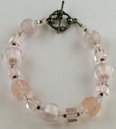 Pink bracelet made with Lampwork glass beads