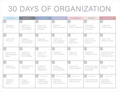 30 days organization challenge. Free printable to get your home and life organized. Different rooms to clean everyday for 30 days!!