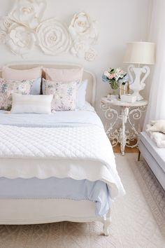 Spring Bedroom Refresh with Brooke & Lou - KristyW Rustic Bedroom Design, Romantic Bedroom Decor, Feminine Bedroom, Bedroom Vintage, Home Decor Bedroom, Bedroom Furniture, Shabby Bedroom, Vintage Inspired Bedroom, Bedroom Ideas
