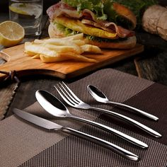 Dinnerware Set Quality 4 Pieces Food Grade Stainless Steel Cutlery Set Knife Fork S Family Tableware Best Gift