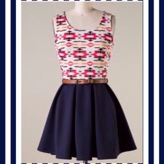 """Aztec A-Line Dress A perfect little summer dress. Bold colors on top with an attached navy skirt and brown belt. Tag says large, but measurements reflect a medium. Like new! No flaws! 28"""" bust 30"""" lengthPP Holds Trades Offers welcome! Dresses Mini"""