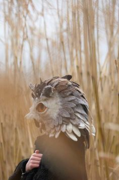 Hand felted Owl animal mask by gladyspaulus -- Don't get me this, I'll never take it off