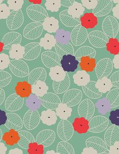 Custom 4ft. x 5ft.  Mint Green and Poppy Floral Backdrop. $52.99, via Etsy.