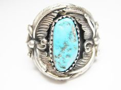 Vintage Navajo Turquoise Feather Ring by BejeweledEmporium on Etsy