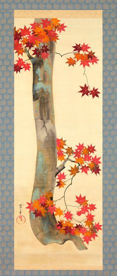 """Autumn Maple,"" by Sakai Oho, a Japanese Rinpa or Rimpa painter and the adopted son of Sakai Hoitsu. Hanging scroll."