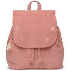 Dusty Rose Suede Embroidered Poet Backpack ($168) ❤ liked on Polyvore featuring bags, backpacks, suede bag, suede tassel bag, suede leather bag, red backpack and rucksack bags