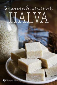 Sesame+&+Coconut+Halva. 2 T. coconut oil, ¼ c. honey, ½ c. raw sesame seeds, ¾ c. unsweetened, shredded coconut ,1 t. vanilla extract