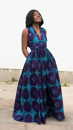 Maxi INFINITY dress in purple record by ofuure on Etsy. Can be worn more than 6 different ways. Made with cotton high quality African print wax fabric (affiliate) Ankara Dress Styles, African Print Dresses, African Wear, African Attire, African Fashion Dresses, African Women, African Dress, African Prints, African Style