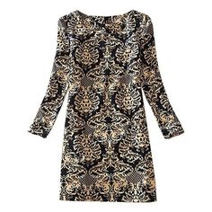 Women's Long Sleeve Floral Print Tunic Mini Dress Plus Size 8-18 (€9,44) found on Polyvore featuring women's fashion, dresses, floral mini dress, long sleeve mini dress, short dresses, long sleeve floral dress and flower print dress