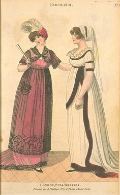 London Full Dresses, March 1801, Fashions of London & Paris