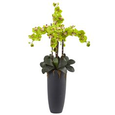 The delicate petals of this orchid cascade down into a circle of smooth leaves and moss. Four stems branch out vertically and horizontally with little buds dangling from the ends. Showcased in a matte gray bullet vase to complement contemporary and modern home decor.