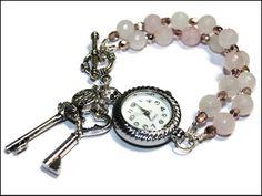 Armbanduhr Rosenquarz Uhr Rosa von Decora Amilla - Handgemachter Unikatschmuck auf DaWanda.com