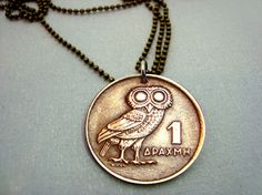 Owl Coin Necklace - Vintage OWL of Athena COIN NECKLACE - 1973 Greek coin - phoenix necklace - bronze owl coin - Athena owl - mens necklace Phoenix Jewelry, Phoenix Necklace, Owl Jewelry, Jewelry Shop, Vintage Jewelry, Jewelry Ideas, Jewelry Necklaces, Greek Jewelry, Vintage Owl