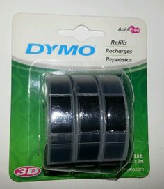 3 rolls Dymo 3D Embossing Tape Glossy vinyl label black (3/8 in x 9.8 ft) $9.99 plus shipping
