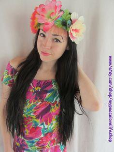 Giant Flower Tropical Headband by MyPeaceLoveLifeShop on Etsy #etsy #etsyfind #christmasshopping #headband #adorable