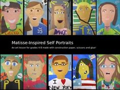 Step-by-step printables and student handouts to create a self-portrait inspired by Matisse cutouts out of construction paper.