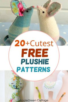Nearly 30 free plushie patterns for you to choose from! check out the free softie patterns, perfect kids sewing projects and toys to sew now: free stuffed animal patterns, felt veggies and other felt toys anyone can make. #freepatterns #stuffedanimalpatterns #plushiepatterns Plushie Patterns, Softie Pattern, Sewing For Kids, Baby Sewing, Sewing Hacks, Sewing Tutorials, Felt Crafts, Fabric Crafts, Sewing Patterns Free