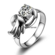 Flügel Engelsflügel Ring mit Zirkonia Edelstahl Damenring Modeschmuck
