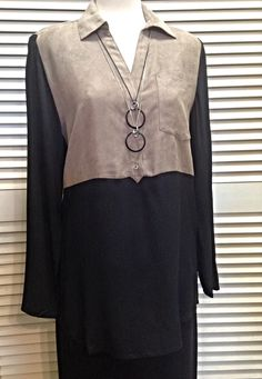 August Silk  - Beige suede and black long sleeve tunic  - $65