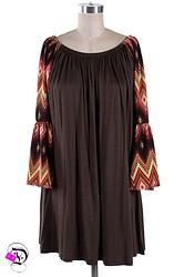 Brown Multi Tribal Bell Sleeve Dress $32.99 Divalicious