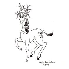 I made up this word and so made up the creature, a sleek deer-like animal with huge glorious antlers. This drawing is part of my daily Deer Like Animals, Antlers, Doodle Art, More Fun, Original Artwork, Give It To Me, Doodles, Creatures, Ink