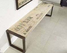 Muebles macizos impreso sólido completo estilo Industrial Banco 140x45 Mango Madera De madera maciza Hierro Fábrica #120