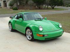 Green Porsche 911 Turbo 964