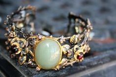 925 Sterling Silver ,14 K gold nature style with vines natural Big opal  stone with garnet stones - so Elegant