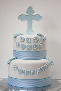 Baby Boy Baptism cake with cross and bunting banner - Frosted Bake Shop.