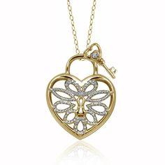 Gold Over Silver Key Charm Heart Pendant Necklace with Diamond Accents by JewelonFire